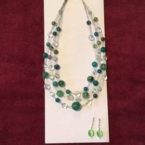 Necklace and Earring set, green tones